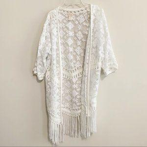 Chico's White Embroidered Fringe Open Sheer Kimono
